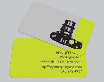 Modern Camera BUSINESS CARD / Photographer Calling Card / Custom Contact Card