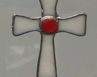 Stained Glass Cross ( White )