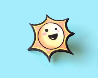 Smiley pin, Smiling sun brooch, Yellow smiling face, Happy emoji, Lapel pin