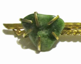 BSK Brooch, Vintage Jade Green  Pin, 1950s-1960s Gold Tone, Bar Pin , Signed Mid Century Jewelry, Natural Stone