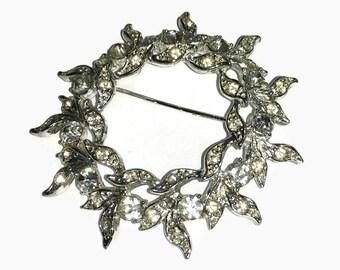 Rhinestone Brooch, Silver Leaf Pin, 1960s-1970s,  Wreath,  Floral