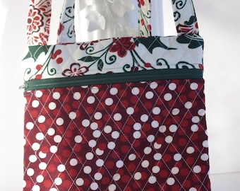Cross body holiday Christmas poinsettia holly quilted red and green bag