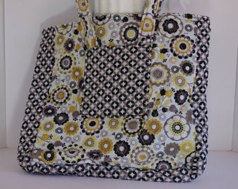Shoulder bag magazine tote quilted floral black yellow white geometric with exterior pockets