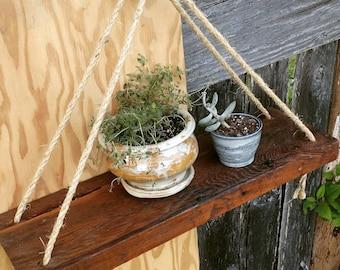 Rustic Rope Hanging Shelves