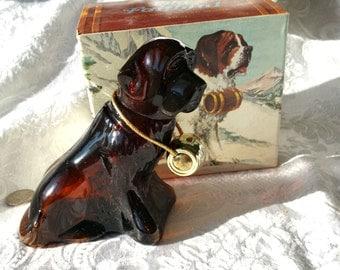 Vintage Avon Old Faithful St Bernard Figurine Bottle, With Box, Vintage Avon Dog Bottle Men's Aftershave Avon Gift for him Collectible Avon