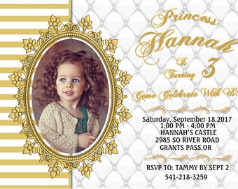 YOU PRINT!!!    A touch of Gold ... Birthday Party invitation Customized for you !!