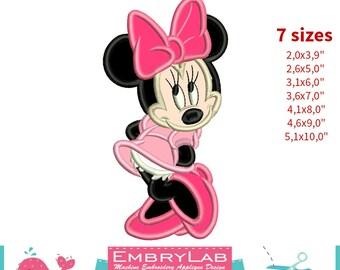Applique Minnie Mouse. Machine Embroidery Applique Design. Instant Digital Download (16287)