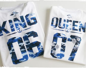 King queen shirts, King and Queen couples shirts, King and Queen couples shirts, Blue camouflage couples shirts, King Queen shirts