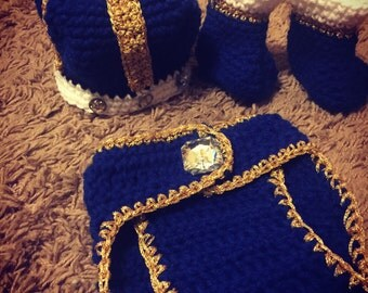 royal crochet themed outfit/king/crown/prince (metallic)/baby shower/