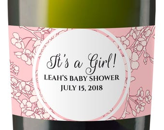 Set of 10 Baby Shower Custom Mini Champagne Label, Personalized Baby Shower Mini Champagne Label, Baby Shower Favor labels MN#82