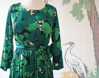 70's Green hippie boho chic maxi Horrockses Vintage dress