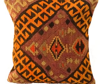 Vintage Kilim Pillow - 16x16