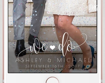 Wedding Geofilter, Wedding Snapchat Geofilter, On Demand Geofilter, We Do, Personalized Geofilter with Bride and Groom Names and Date