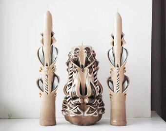 Свадебные свечи - свечи единства - резные свечи ручной работы - коричневые единства свечи - свадьба в коричневом - интерьерные свечи