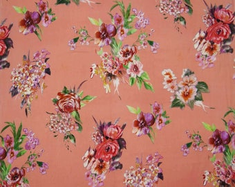 "Apparel Fabric, Floral Print, Peach Fabric, Decor Fabric, Home Accessories, 43"" Inch Cotton Fabric By The Yard ZBC7563C"