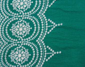 """Dressmaking Fabric, Sewing Crafts, Teal Blue Fabric, Embroidery Fabric, Indian Decor, 42"""" Inch Cotton Fabric By The Yard ZBC7716A"""