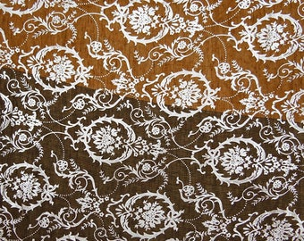 "Designer Fabric, Rubber Print, Brown Fabric, Dress Material, Sewing Fabric, 45"" Inch Cotton Fabric By The Yard ZBC7851A"