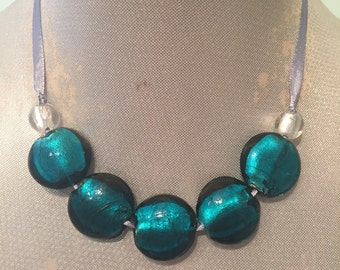 Turquoise Glass Beaded Ribbon Necklace / Choker