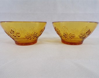 Lot of 2 vintage amber décor vereco state flower bowls new old stock of 70s store dishes vintage France vintagefr