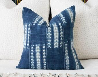 Vintage African Indigo Pillow Cover 18x18