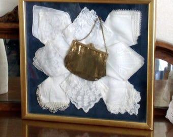 Vintage Shadowbox Whiting & Davis Mesh Purse, Bridal White Lace Vintage Hankies, Professionally Frame, Wedding Gift, Antique