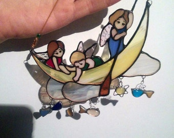 Angels Stained glass pendant.