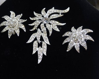 Sarah Coventry Brooch Pendant Earrings Mid Century 60s Vintage Rhinestone Jewelry Hollywood Wedding EVENING ACCENT Demi Parure Bride Bridal