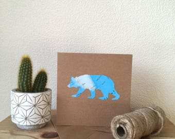 Bear Card // Bear // Handmade Bear Card // Map Bear Card // Blank Bear Card // Bear // Map Bear // Handmade Card // Card // Blank Card
