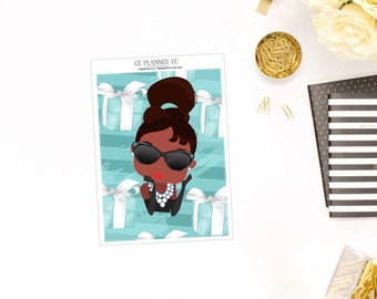 Blue Tiffany Collection, Double-Box Planner Sticker, African American, for use in your vertical Erin Condren or Classic Happy Planner, Break