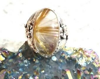 Rutilated Quartz Ring Size 6