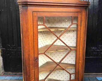 BEAUTIFUL 19th Century Welsh Oak Glazed Corner Cupboard