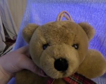 Red velvet heart Bear Musical Pull Toy plush Dakin  Dated 1989