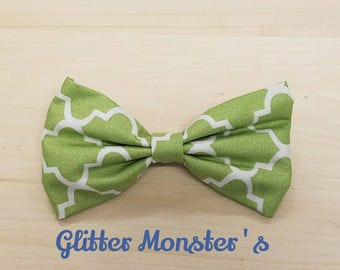 Green and White Bow Tie, Infant-Adult Bow Tie, Mens Ties, Boys Tie, Bow Ties, Mens Bow Ties, Boys Bow Tie, Wedding Ties, Bowtie, Clip On Tie