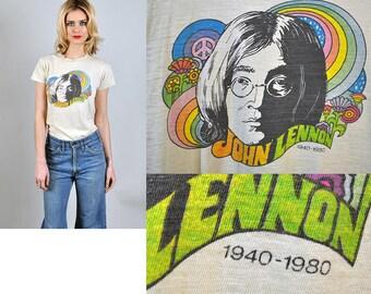 Vintage John Lennon Memorial 1980 tee shirt psychedelic rare s1