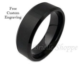 Tungsten Ring, Men's Tungsten Wedding Band, Men's Black Wedding Band, Black Tungsten Ring, Tungsten, Tungsten Band, Personalized Engraving