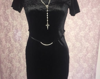 Sassy black 90's velour mini dress