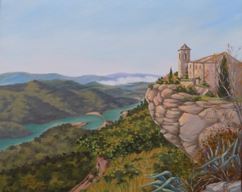 Siurana | 25,6 * 21,3 in ( 65x54 cm ) | Original Oil Painting | FREE WORLDWIDE SHIPPING