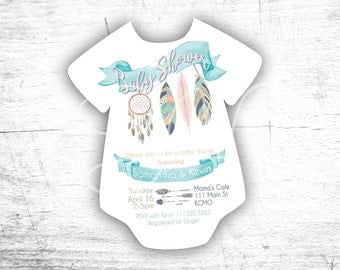 NEW Evite Tribal Dreamcatcher Feather Baby Shower Onsie Invitations Digital  Pink Turqoise Gold 1st Birthday