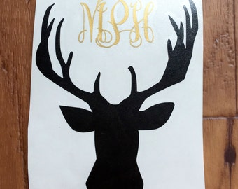 Deer head monogram decal, deer head decal, monogram decal, deer outline decal, deer antler decal, deer antler monogram decal, car decal