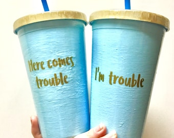 Mommy and me matching tumblers, matching tumblers, drinking tumblers, here comes trouble tumblers, I'm trouble tumblers, mom and child match