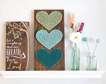 MADE TO ORDER Large, Ombre, Heart, String Art, wood sign, gift