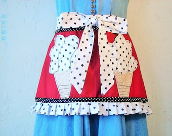 Ice Cream Apron/One Of A Kind Apron/Handmade Apron/Cute Apron/Half Apron/OOAK Ice Cream Apron/Apron With Pockets/Ruffled Apron/Made In USA