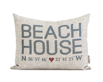 Beach House Coordinates Pillow, Housewarming Gift, Home Away From Home, Gift For Him, Gift For Her, Rustic Home Decor, Decorative Pillows