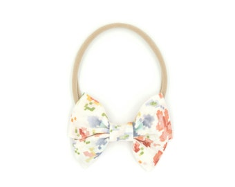 Pixel Floral Pleated Bow // Headband or Clip