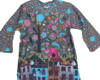 Tunic dress made of cotton jersey in the Gr. 86/92. colourful houses, trees, birds and flowers Jersey digital pink turquoise blue green brown