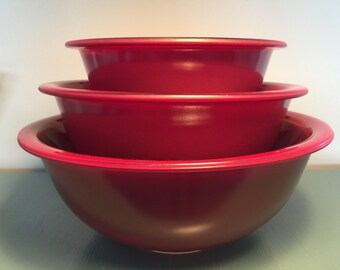 Vintage Pyrex Dark Red Clear Bottom Mixing Bowls