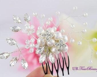 Wedding Hair Comb, Bridal Hair Comb, Crystal Hair Comb, Swarovski Pearl Hair Comb, Crystal Hair Comb, Wedding Hair Pin, Hair Pins