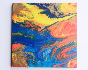 Abstract Acrylic Pour Painting (Blue, Orange, Yellow, Gold 12inx12in)