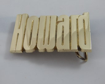 Vintage Custom Brass Belt Buckle Howard 1978