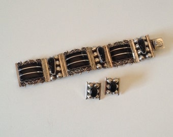 Vintage Mexico Sterling Silver Black Onyx Bracelet & Earrings